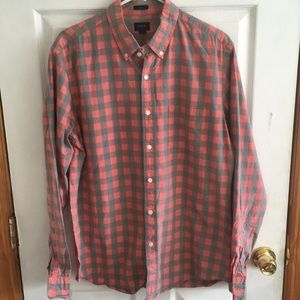 J crew slim fit salmon and grey plaid button down